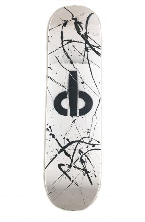 cb shaw skateboard – one of a kind HAND PAINTED White with black and silver splatter