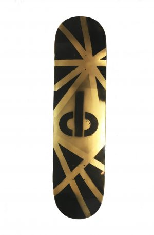 cb shaw skateboard – one of a kind HAND PAINTED Gold with black logo